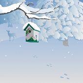 Winter scene with birdhouse, forest, deer.
