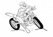 image of motocross  - Sketch illustration of a man on motocross - JPG