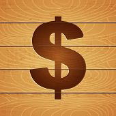 dollar on wooden background