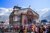 Pilgrims at the Kedarnath Temple, India.