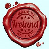 Made in Ireland red wax seal or stamp, quality label