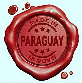 Made in Paraguay red wax seal or stamp, quality label