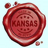 Made in Kansas red wax seal or stamp, quality label