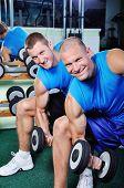 Muscular Men Exercising In A Gym
