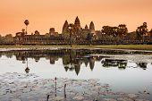 Angkor Wat temple at sunrise.