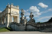 Gloriette and beautiful statues in the garden of Schonbrunn