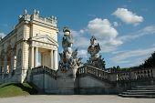 Gloriette and beautiful statues in the garden of Schonbrunn