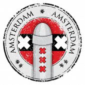 Grunge Stamp With Bollard Symol Of Amsterdam And Flag