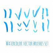 Brushes and checks blue watercolor set. Vector illustration.