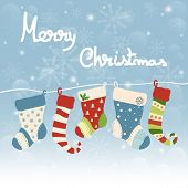 Christmas Greeting Card With Hanging Socks