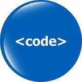 Code Sign Icon. Programming Language Symbol. Circles Buttons