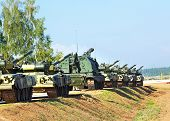 image of artillery  - Column of tanks self - JPG
