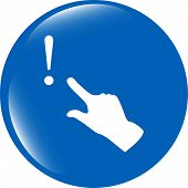Exclamation Mark Sign Icon With People Hand. Help Symbol. Faq Sign. Style Buttons