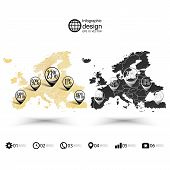 Europe map, wooden design texture, infographics vector illustration