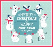 Christmas card with cute little snowman & friends