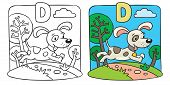 Coloring book of little funny dog. Alphabet D