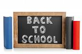 Back To School Chalkboard  With Books