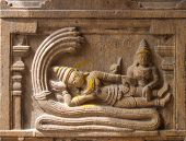 Ancient stone mural of Vishnu.