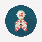 Chinese New Year Flat Icon, Eps10, Chinese Festival Couplets With Firecrackers Means