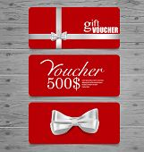 Holiday Gift Coupons with gift bows and ribbons. Vector illustration.