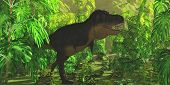 stock photo of tyrannosaurus  - Thick jungle foliage hides a large Tyrannosaurus Rex dinosaur as he hunts for prey - JPG