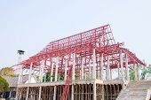 Construction Site Of Repairing Thai Temple With Steelwork