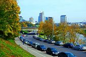 Vilnius City Street, Cars And Skyscrapers View