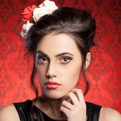Beautiful Woman Professional Make Up In Red Vintage Room