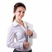 Smiling Businesswoman With A Notebook In Her Hands Isolated On White