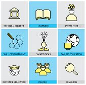 Flat Design Set Of Vector Line Icons Of School & College, University Education