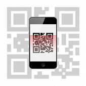 Mobile Smart Phone With Qr Code Isolated On White Background.