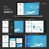 Full Screen Website Template with Blurred Background - Five Different Pages