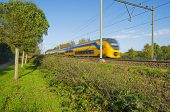 foto of high-speed train  - Passenger train moving at high speed in autumn - JPG