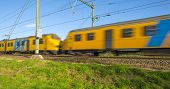 Passenger train moving at high speed