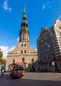 RIGA, LATVIA - SEPTEMBER 30: St. Peter's Church at daytime on September 30, 2014 in Riga, Latvia