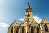 stock photo of sibiu  - The Lutheran Cathedral of Saint Mary was built in 1530 and is the most famous Gothic - JPG