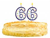 Birthday Cake Candles Number Sixty Six Isolated