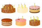 Set of birthday cake.