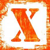 Single Letter X Stamp, Grunge Design