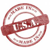 Made In Usa, Red Grunge Seal Stamp