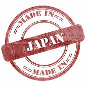 Made In Japan, Red Grunge Seal Stamp