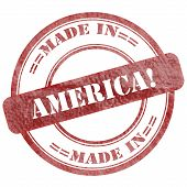 Made In America, Red Grunge Seal Stamp