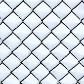 Chain Link Fence With Snow