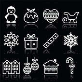 Christmas, winter white icons with stroke on black