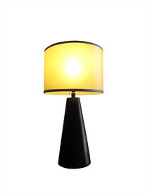 pic of lamp shade  - Table lamp lit with yellow shade isolated on white with cutting - JPG