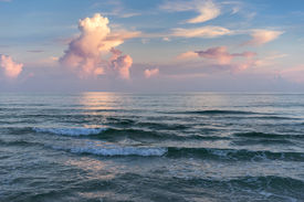 picture of breaker  - Sunset seascape at the Gulf of Mexico in Pensacola Florida colorful reflections cumulus clouds frothy breakers - JPG