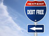 picture of debt free  - Debt free road sign - JPG