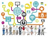 picture of social system  - Global Communications Social Networking Digital Device Online Concept - JPG