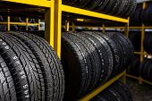 picture of logistics  - Tires for sale at a tire store - JPG