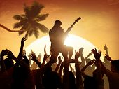 stock photo of adolescent  - Adolescence Summer Festive Music Fans Concert Dancing Concept - JPG
